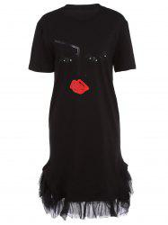 Stylish Short Sleeve Lips Pattern Fringed Women's Dress -