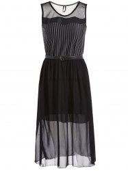Stylish Scoop Neck Striped Mesh Spliced Women's Midi Dress -