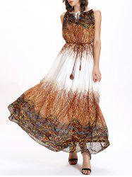 Keyhole Printed Chiffon Maxi Swing Dress - COLORMIX