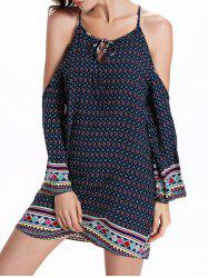 Open Shoulder Keyhole Boho Dress - PURPLISH BLUE
