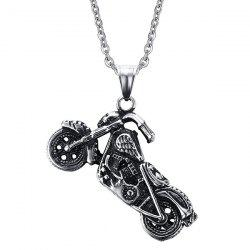 Vintage Motorcycle Collier Shape For Men - Argent
