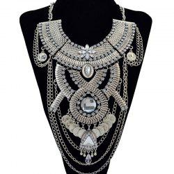 Retro Faux Crystal Rhinestone Coin Geometric Necklace -