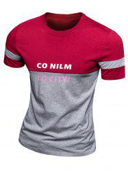 Casual Color Block Letter Printed Short Sleeve T-Shirt For Men -