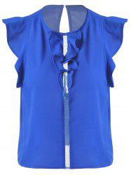 Sweet Slimming Scoop Neck Flounce Blouse For Women - SAPPHIRE BLUE S