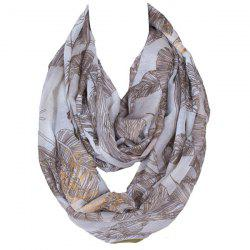 Chic Voile Scarf With Leaves Print For Women - KHAKI