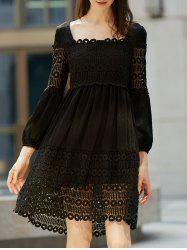 Lace Panel Long Sleeve Smock Casual Dress - BLACK L