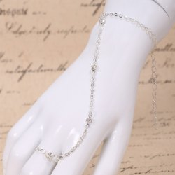 Laconic Rhinestone Bracelet With Ring For Women -