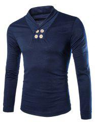 Trendy Slimming Turndown Collar Solid Color Button Design Long Sleeve Polyester T-Shirt For Men - CADETBLUE