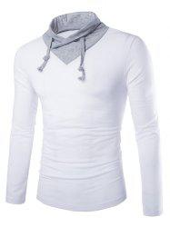 Stylish Slimming Turndown Collar Two Color Splicing Drawstring Long Sleeve Polyester T-Shirt For Men - WHITE