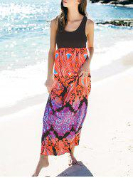 Empire Waist Printed Maxi Summer Dress - BLACK M