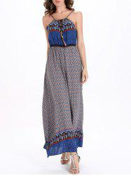 Drawstring Printed Maxi Boho Slip Dress