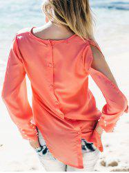 Stylish Scoop Collar Long Sleeve Asymmetrical Chiffon Women's Blouse