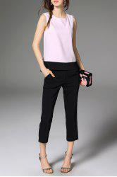 Bowknot Hit Color Tank Top and Solid Color Pants -