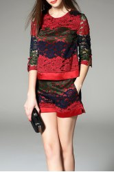 Lace Crochet Splicing Two Piece Clothing -