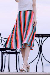 Pleated Watermelon Striped Skirt -