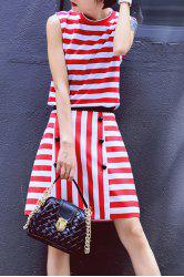 Fitting Striped Tank Top and Stripe Pencil Skirt -