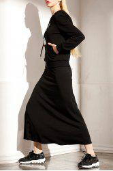 Hooded T-Shirt and Solid Color Skirt Twinset -