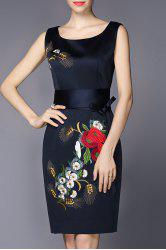 Sleeveless Embroidered Belted Dresss -