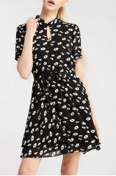 Asymmetrical Print Print Dress with Belt -