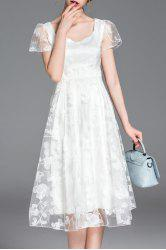 Scoop Neck Short Sleeve Floral Embroidery Dress -