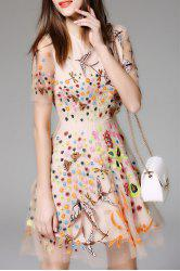 Embroidered Mesh Sheer Flare Dress -