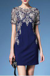 Embroidery Short Sleeve Shift Dress For Women -