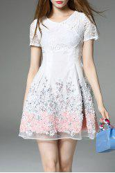 Lace Panel Short Flare Dress -