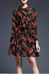 Wavy Stripe Print Bowknot Dress -