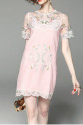 Flower Embroidered See Through Two Piece Dress -