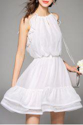 Cami Flounce Ruffle Solid Color Dress -