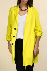 Lapel Long Line Yellow Blazer -