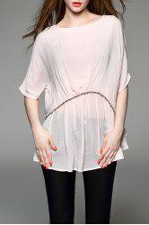 Round Neck Batwing Sleeve Rivet Embellished T-Shirt -