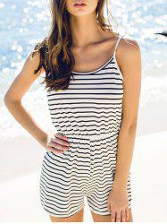 Fashion Spaghetti Strap Striped Backless Women's Romper - STRIPE