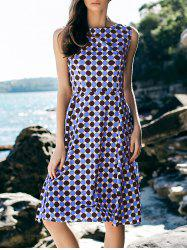 Boat Neck Vintage Polka Dot Print Sleeveless Dress For Women -