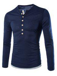 Long Sleeves Two Tone Button T Shirt - CADETBLUE
