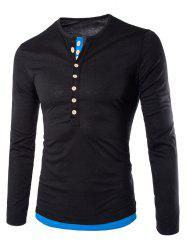 Long Sleeves Two Tone Button T Shirt - BLACK