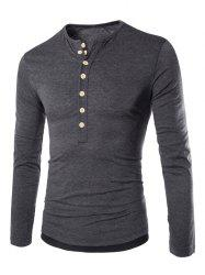 Long Sleeves Two Tone Button T Shirt - DEEP GRAY