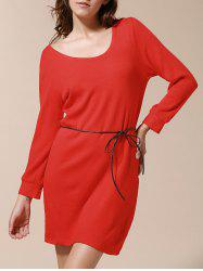 Solid Color Simple Style Skinny Puff Sleeves Round Neck Women's Dress - RED