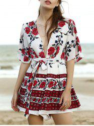 Active Plunging Neck Flare Sleeve Floral Print Women's Romper