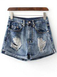 Stylish Hole Hemming Denim Women's Shorts - DEEP BLUE