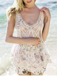 Sheer Lace Tank Top - WHITE