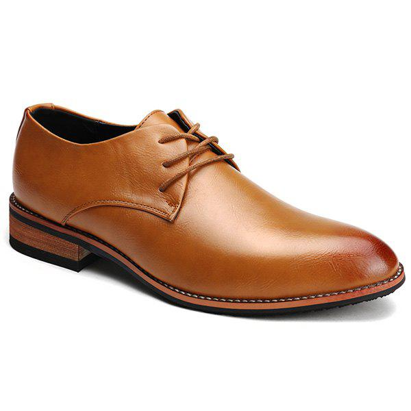 Online Retro Solid Color and Lace-Up Design Formal Shoes For Men