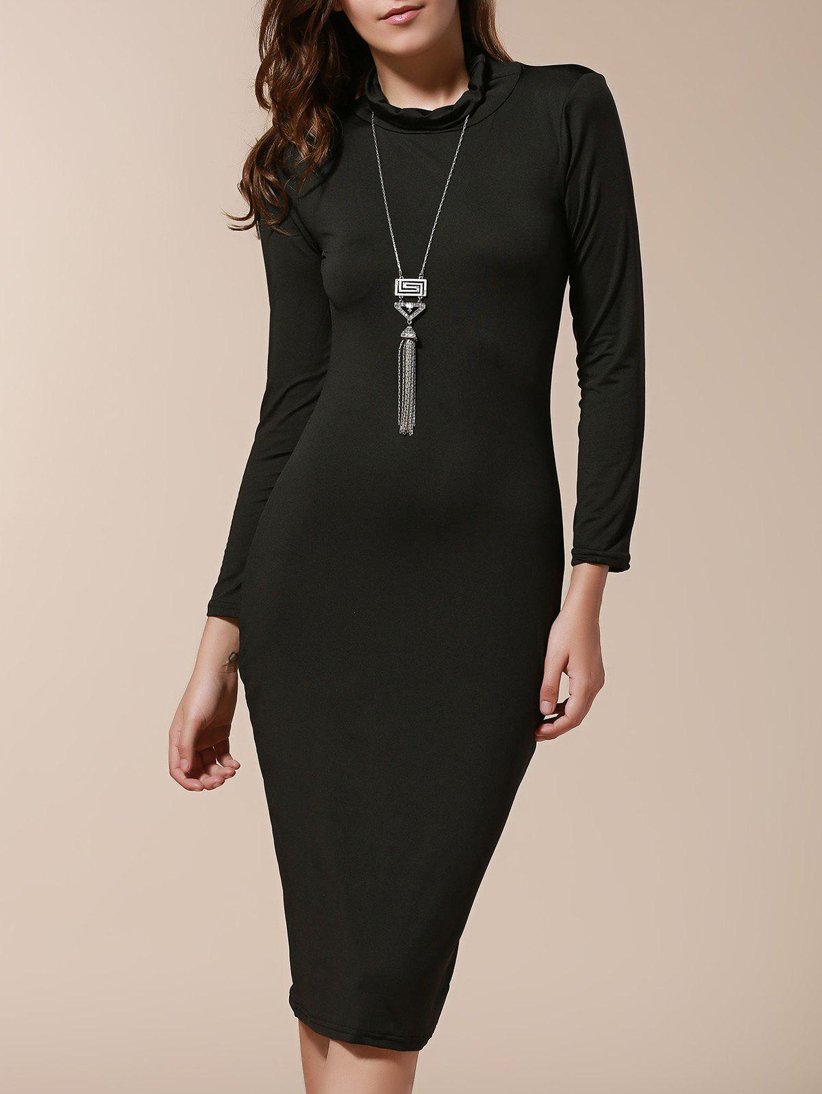 Simple Turtle Neck Long Sleeve Solid Color Slimming Womens DressWOMEN<br><br>Size: S; Color: BLACK; Style: Brief; Material: Cotton Blend; Silhouette: Sheath; Dresses Length: Mid-Calf; Neckline: Turtleneck; Sleeve Length: Long Sleeves; Pattern Type: Solid; With Belt: No; Season: Fall,Spring; Weight: 0.263kg; Package Contents: 1 x Dress;