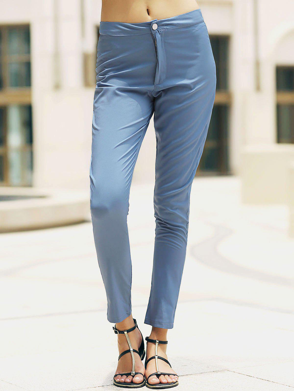 New Stylish High-Waisted Pocket Design Slimming Women's Pants