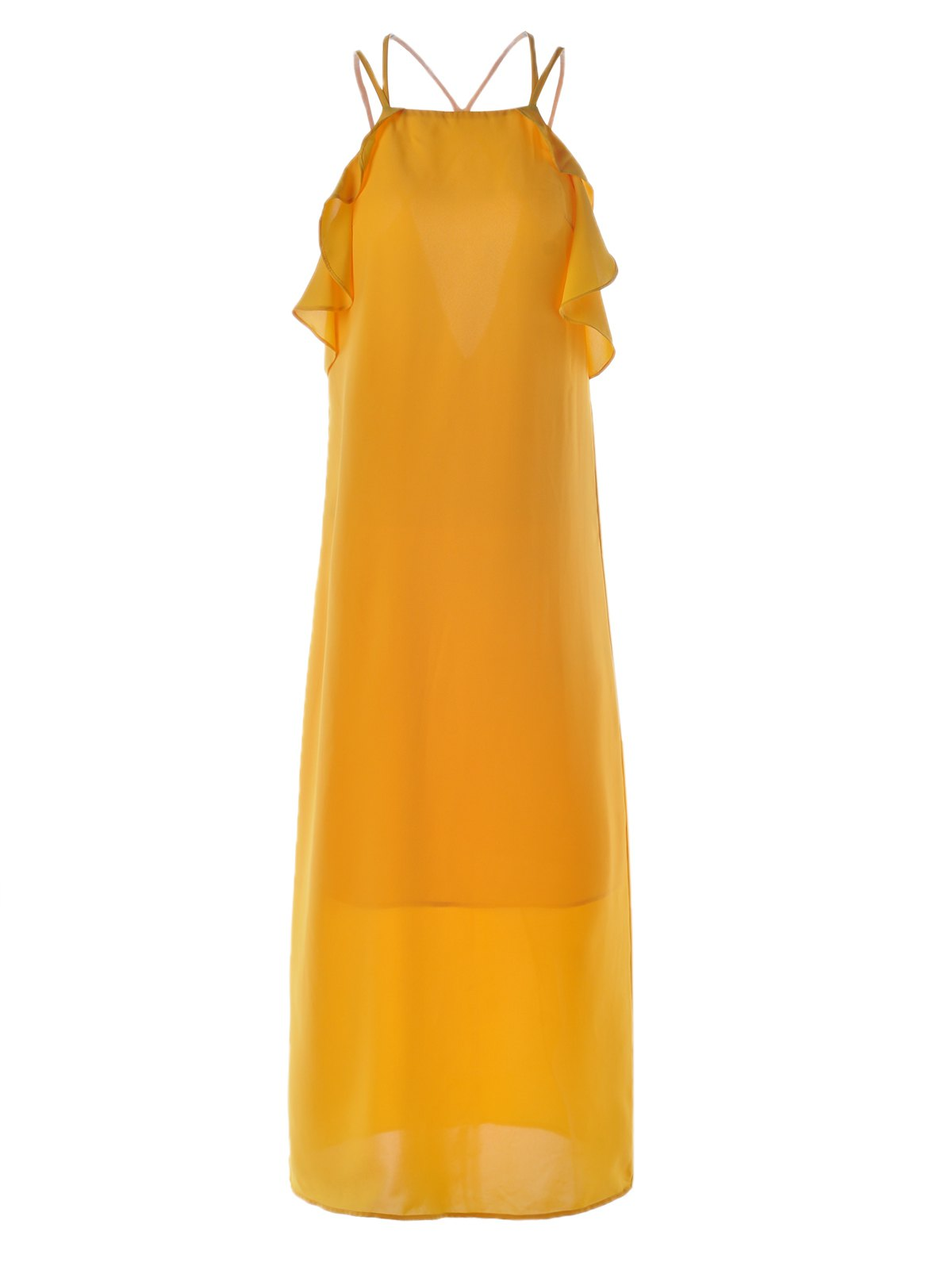 Best Women's Stylish Cut Out Spaghetti Strap Pure Color Dress