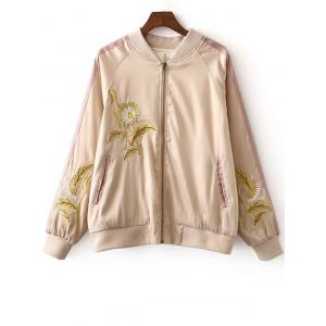 Stylish Stand Neck Long Sleeves Floral Embroidery Women's Jacket - Colormix - M