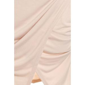 Scoop Neck manches longues Crossover Hem Robe moulante - ROSE PÂLE M