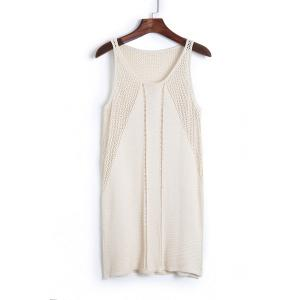 Stylish Scoop Neck Sleeveless Solid Color Knit Women's Cover Up