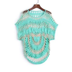 Short Sleeve Crochet Cover Up - Green - One Size(fit Size Xs To M)