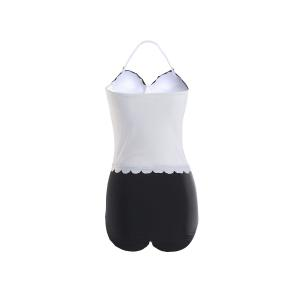 Sexy Style Halter Neck Black White Splicing Swimwear For Women -